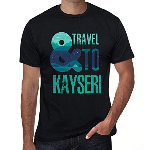 Herren Tee Männer Vintage T-Shirt and Travel to Kayseri Noir Schwarz
