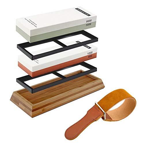 DONGRTON Knife Sharpening Stone Set Premium Whetstone Kit 400/1000 3000/8000 Grit Waterstone for Knife Sharpener Stone Leather Strop Non-Slip Bamboo Base