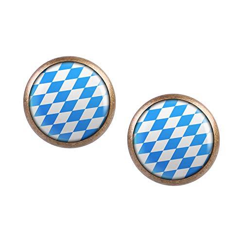 Mylery Ohrstecker Paar mit Motiv Bayern Oktober-Fest Blau Weiß Rauten bronze 12mm