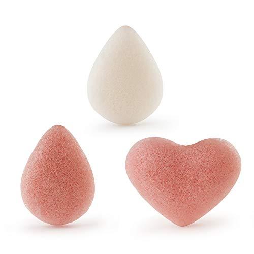 Konjac Lot de 3 éponges naturelles en forme de cœur pour nettoyer le visage