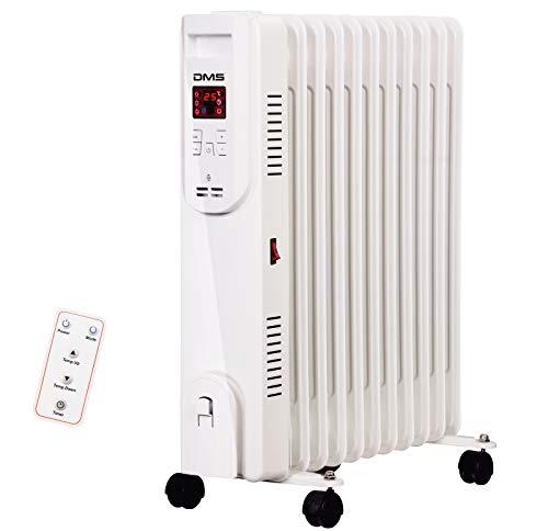 DMS® Ölradiator - Elektrische Heizung mit 13 Rippen 2500W Öl Radiator Elektroheizung Mobil LED Display, Fernbedienung Timer Abschaltautomatik Überhitzungsschutz OR-13 (13 Rippen)