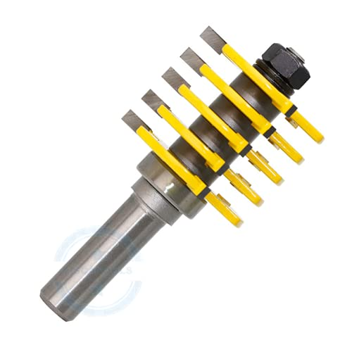 Adjustable Finger Joint Router Bit 1/2 Inch Shank Cutter Tool with 5 Individual Finger Cutters