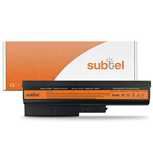 subtel® Batterie Premium (4400mAh) Compatible avec Lenovo ThinkPad R61 / T61 (15.4\