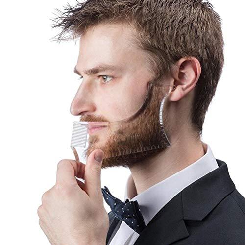 Bartformer Template Shaping Tool,NewChiChi Transparent Styling Kamm Schablone für Ziegenbart Schnurrbart Koteletten Gesichtshaar Trimmen Pflegeanleitung für Männer Backenausschnitt Symmetrische Kurve