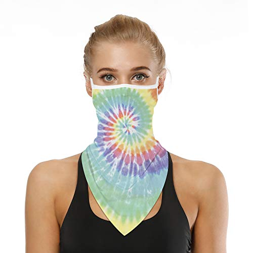 SRVOKOX Funny Tie Dye Boho Neck Gaiter Face Mask Covering Bandanas for Men Women Summer UV Cooling Face Scarf Mask Cover Ear Loop Hole Triangle Facemask Headbands for Fishing Running Cycling Hiking