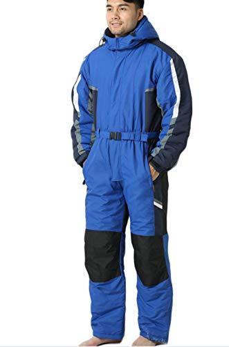 Combinaison du Ski Homme, Adulte Une Pièce Costumes De Ski Combinaisons Hivernales Combinaisons Habits De Neige Imperméables pour Sports De Neige,Bleu,XL