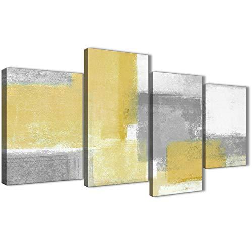 Wallfillers - Cuadros abstractos para dormitorio en tonos amarillo mostaza y gris. Juego de xilografías - 67 x 130 cm