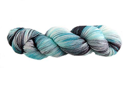 Sockenwolle Superfine handgefärbt -Black Waterpool - 75% Schurwolle / 25% Polyamid - Australische Schurwolle 22 Mikron 100 g ca 400 m