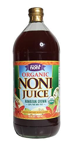 Healing Noni - 100% Pure Organic Hawaiian Noni Juice - 32oz Glass Bottle