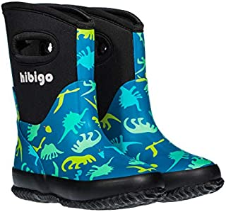 hibigo Kids Toddler Neoprene Rain Boots Winter Warm Snow Muck Boots Boys Girls Waterproof Outdoor Mudboots Solid Color