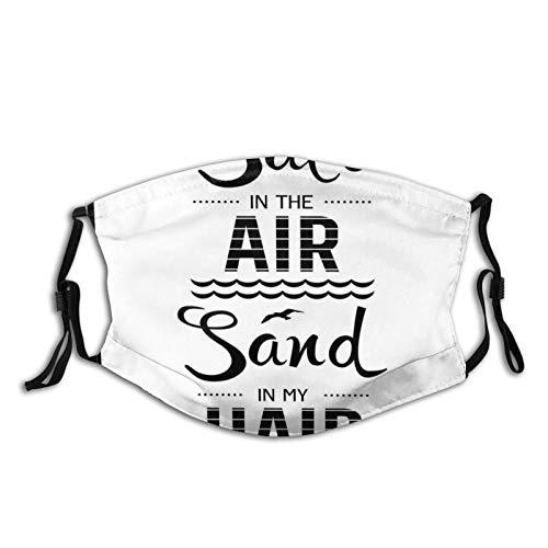FULIYA Mascarillas faciales reutilizables para mujeres y hombres, sal en el aire, sal en mi cabello, texto motivacional de verano con olas de playa, 12 x 18 cm, tamaño mediano, unisex adulto