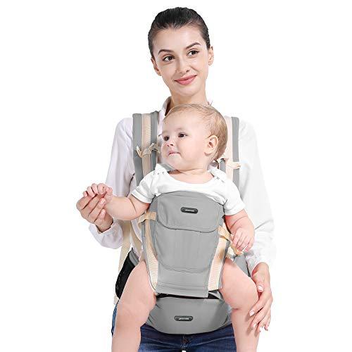 Yoofoss Mochila Portabebé Ergonómico Recien Nacido Multifuncional 10 en 1 Ajustable Multiposición Dorsal y Ventral para 0-48 meses bebes (25 Kg)