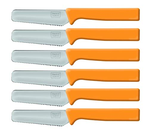 Home Xpert 6 Stück Frühstücksmesser Knife, Brötchenmesser, Tafelmesser, Brotzeitmesser, Wellenschliff, Soft-Griff in orange