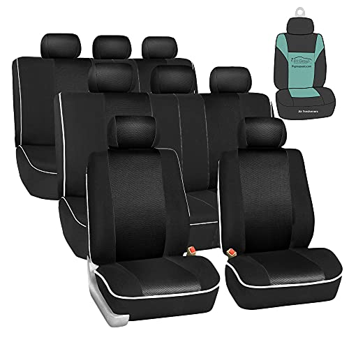 FH GROUP Three Row Cloth Car Seat Covers with Piping (Airbag and Split Ready) Black (FB063128)– Universal Fit for Cars Trucks & SUVs