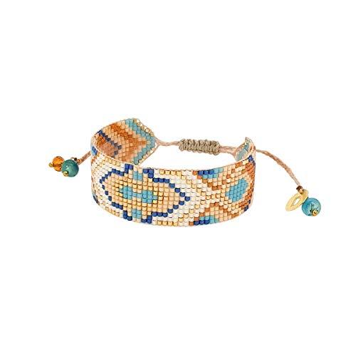 DKARY Brazalete miyuki Brazalete de cristal de colores Brazaletes ajustables Regalo ideal para mujer Brazaletes artesanales ancho S (2 cm) (FREYA 40)