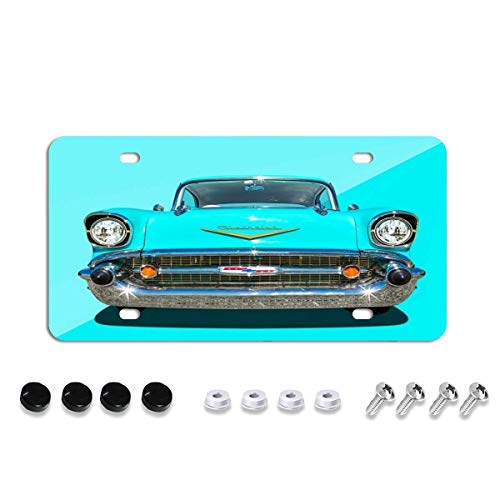 57 Chevy Face License Plate Cover,Decorative License Plates for Car,Novelty Auto Car Tag Vanity Plates for Men Women 6x12 Inch
