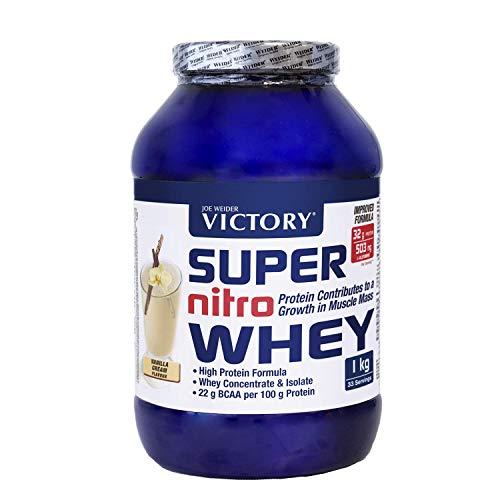 Victory Super Nitro Whey Vainilla (1 kg). Concentrado y aislado de suero. fuente proteica rica en BCAAs. Recuperación muscular. Con L-Glutamina, Vitamina B6 y Calcio.