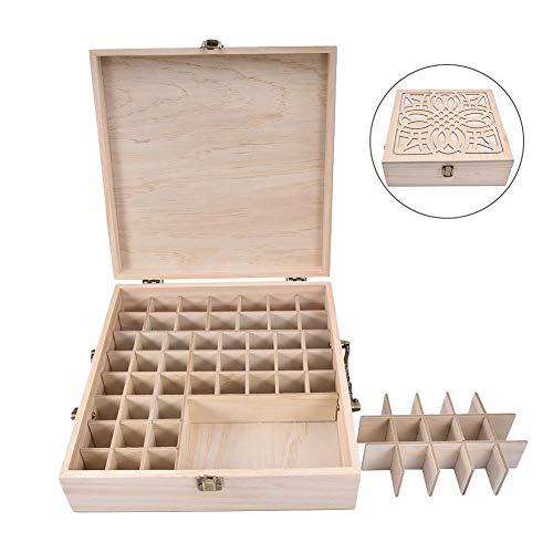 62 Fächer Öl Holzkiste Aromatherapie Aufbewahrungsbox für Ätherisches Öl Holzkoffer mit Deckel Tasche Box Organisator Aufbewahrungsbox