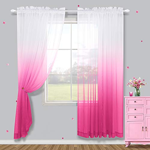 Pink Sheer Curtains 84 Inch Length for Bedroom Set 2 Panels Rod Pocket Ombre Gradient Window Voile Tulle Drapes Semi Sheer Beautiful Pretty Girls Room Accessories for Girls Gift Ideas Teenagers Decor