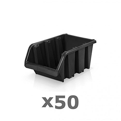 50 Stück Sichtlagerboxen Größe 2 - schwarz (15,5 x 10 x 7 cm)
