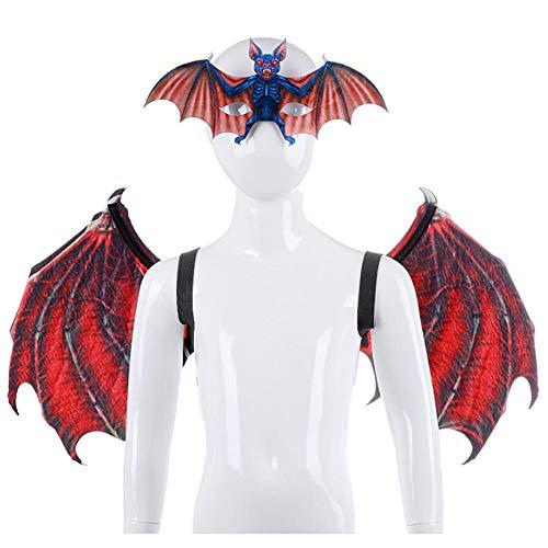 Alas de dragón de Halloween para niños, alas de disfraz de fantasía para niños Máscara de animal Accesorio de cola de ala de dragón para niños Niñas Dinosaurio Juegos de simulación Favores de fiesta