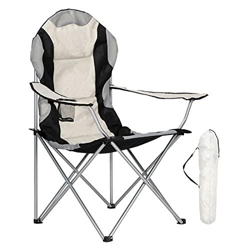 AlightUp Chaise de Camping Pliantes Confortable avec Accoudoirs,Chaise de Plage Fauteuil Pliable Légère avec Boisson et Sac de Transport,Fauteuil de Peche Gris