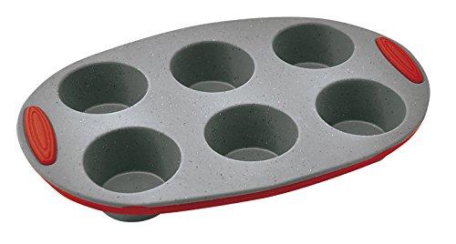 Jata MC62 - Molde de silicona flexible para magdalenas (6 x 10 cm, 26 x 15 x 3 cm), color gris y rojo