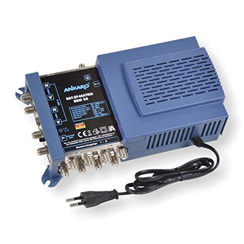 ANKARO Multischalter SEM 5/8 für den Empfang einer Satellitenposition an bis zu 8 Teilnehmer / 4K, 3D, UHD tauglich / Quattro und Quad LNC geeignet