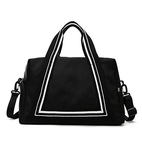 Jklt Large-capacity Luggage Bag Oxford Cloth Lightweight Large Capacity Travel Portable Women Travel Bag Duffel Tote Bag with Shoulder Straps (Color : Black, Size : 45x22x29cm)