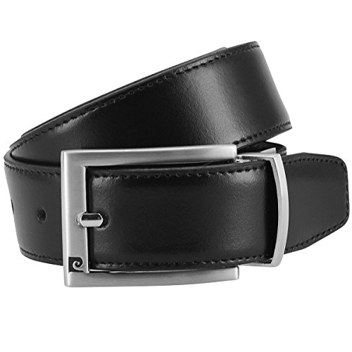 Pierre Cardin Mens leather belt/Mens belt, leather belt reversible,black-dark brown, Size:95