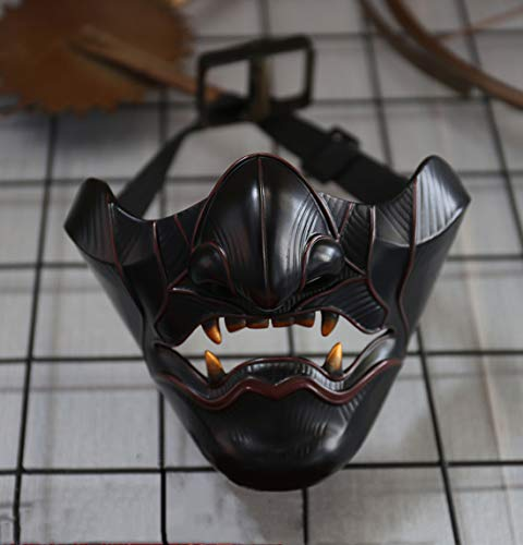 insp YK Ghost of Tsushima Mask prajna Half Face Japanese Warrior Mask Second Element Cosplay Halloween Mask Game Character Ghost Face Mask