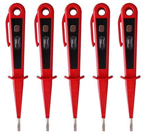 H+H Werkzeug 45300 5 x 45300 Europrüfer/Spannungsprüfer/Phasenprüfer bis 250V GS geprüft nach VDE 0680 Made in Germany, rot/schwarz, 150 mm