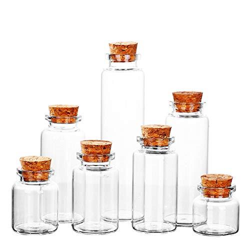 Amorar Botellas de cristal con corcho 20 unidades botellas decorativas de cristal vintage jarrones pequeños mensajes botellas tarros de especias recipiente para aceites 10-80ml 30ml: 30*70mm