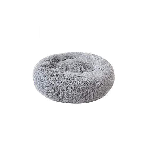 LIYONG Dresses Dog Pad   Pet Dog Bed Warm Fleece Round Dog Kennel House Long Plush Pets Dog Beds For Medium Large Dogs Cats Soft Sofa Cushion Mats 1-Light Grey-40Cm HLSJ