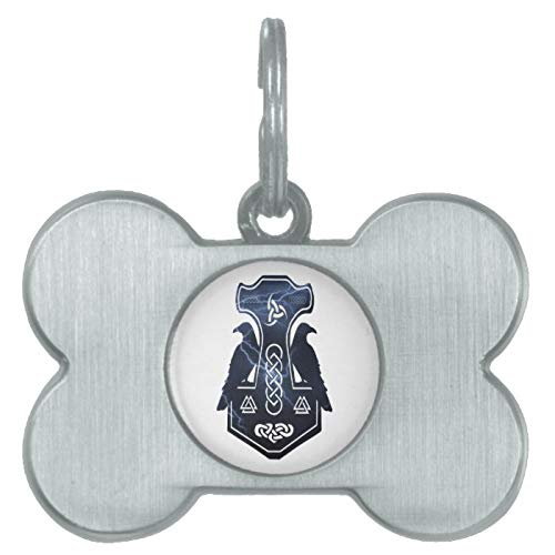 Stainless Steel Pet ID Tags, Lightning Thor's Hammer Dog Tag, Dog Tags, Cat Tags, Bone Shaped ID Tag for Dogs and Cat
