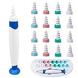 Q-Grips Limpia Oídos, kit limpiador para oídos, Limpiador de Cera de Oídos con Punta Suave en Espiral y 16 Puntas Remplazables de Silicona lavables Para la Higiene, Apto Para todas las Familias