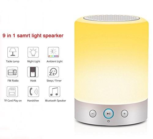 Lampada da comodino, KuGi ® L7 Portable Bluetooth Speaker 4W con LED Touch Sensor lampada da tavolo + Dimmable bianco caldo Light & Cambiare colore RGB luce di notte.(bianca)