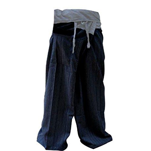 LovelyThaiMart - Pantalones de Yoga para Pescador tailandés (2 Tonos, algodón)