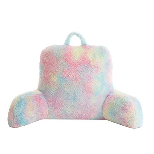 Pop Shop Sorbet Dreams Faux Fur Long Hair Backrest Pillow, Rainbow