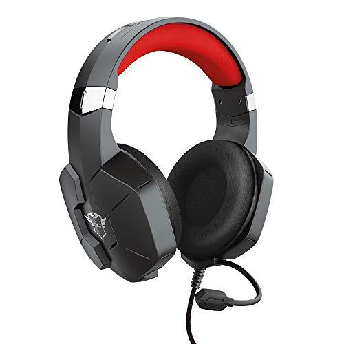 Trust Gaming Cuffie PC, PS4, PS5, PlayStation 4/5, Xbox Series X/S GXT 323 Carus con Microfono Flessibile, 3.5 mm Jack, Filo, Controllo del Volume ed Esclusione Audio del Microfono - Nero