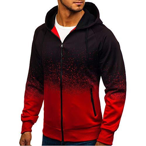 Sweat Zippé Homme,FNKDOR Hommes Sweat à Capuche Emballages Diplômé Svelte Manche Longue Sweatshirt Pullover Streetwear(Rouge,XL)