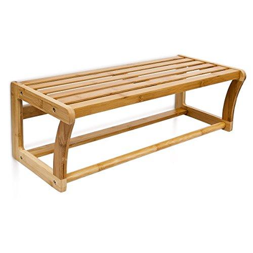 Relaxdays 10014070 Estantería para Toallas, bambú con Material de Montaje, Natural, 25x60x20 cm