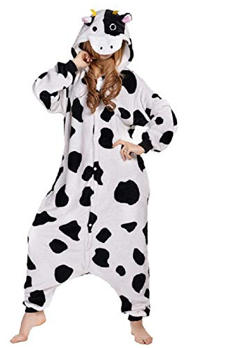 Anbelarui Erwachsene Unisex Kuh Onesie Tier Schlafanzug Cosplay Pyjamas Halloween Karneval Kostüm Loungewear (L für Höhe 165-175cm)