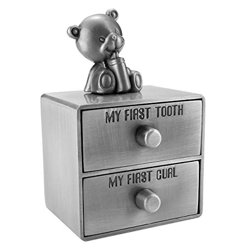 Mogoko Silver Tooth Box, Baby First Tooth and Curl Keepsake Box Set, Kids Teeth Fairy Holder for Boy or Girl