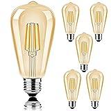Bombillas LED de estilo Edison de 2700 K, bombillas antiguas de estilo vintage, 40 W, equivalente a E27, paquete de 6 unidades