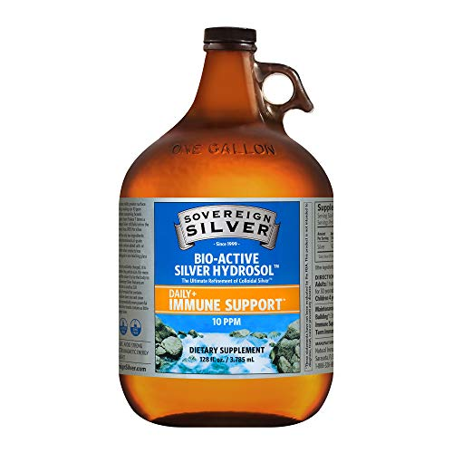 Sovereign Silver Bio-Active Silver Hydrosol for Immune Support - Colloidal Silver -10 ppm, 128oz (3785mL)