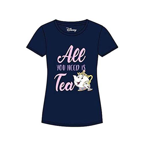 La Camiseta de Bella y Bestia Disney para Mujeres Todo lo Que Necesitas es té, algodón Azul - L