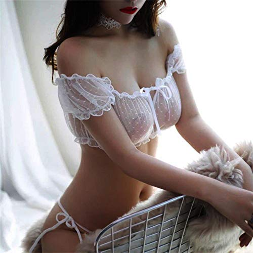 Bwer 2 uds, Lencería de esteticismo de coqueteo de Marido y Mujer, Perspectiva de Hilo de Red, Pijamas para el hogar, Ropa Interior con Hombros Descubiertos y Pantalones + Pantalones