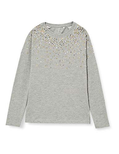 NAME IT Mädchen NKFREKA LS TOP T-Shirt, Grey Melange, 146-152