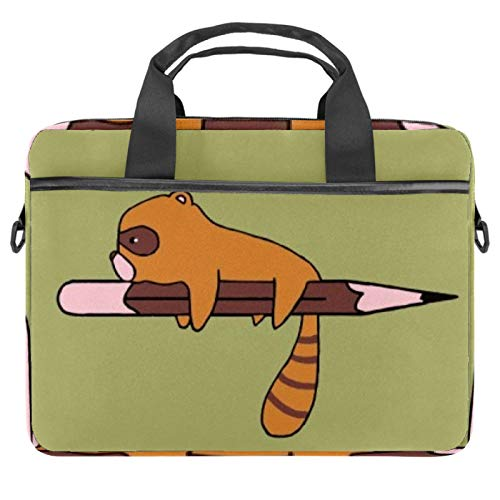 Little Raccoon with Pen Laptop Bag Messenger Bag Slim Briefcase with Crossbody Shoulder Bag Computer Bag Computer and Tablet Carrying Case for 13.4-14.5In